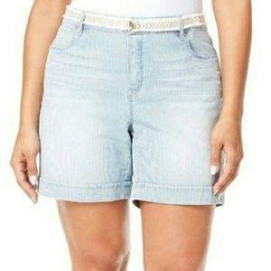 Gloria Vanderbilt Pinstripe Denim Shorts Size 20W